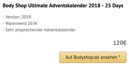 Body Shop Ultimate Adventskalender 2018